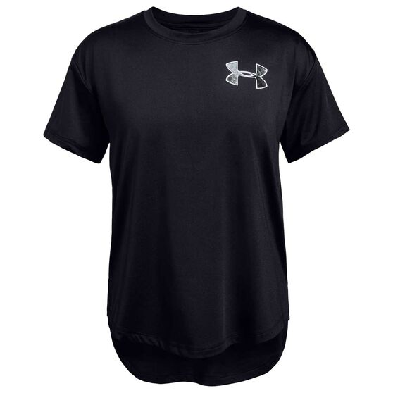 Under Armour Girls HeatGear Armour Training Tee, Black / White, rebel_hi-res