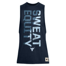 Under Armour Project Rock Sweat Equity Tank Navy XS, Navy, rebel_hi-res