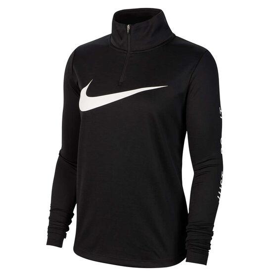 Nike Womens Quarter Zip Running Top, Black, rebel_hi-res