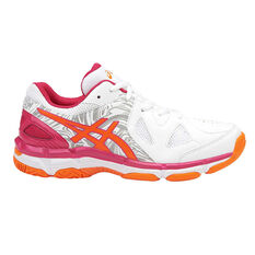 Asics Netburner Super 7 Girls Netball Shoes White / Orange US 1, White / Orange, rebel_hi-res