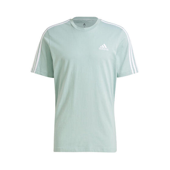 adidas Mens Essentials 3-Stripes Tee, Green, rebel_hi-res