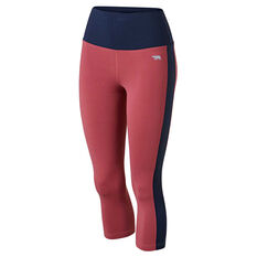 Running Bare Womens Ab Werk It 7 / 8 Tights Red 8, Red, rebel_hi-res