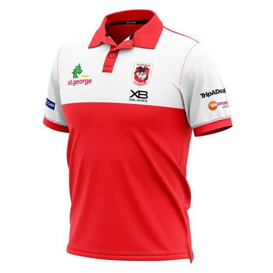 St George Illawarra Dragons 2020 Mens Media Polo, Red/White, rebel_hi-res