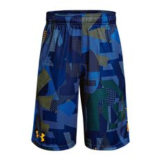 Under Armour Boys Stunt Printed Shorts Yellow / Blue XS Junior, Yellow / Blue, rebel_hi-res