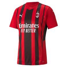 AC Milan 2021/22 Mens Home Jersey Black/Red S, Black/Red, rebel_hi-res