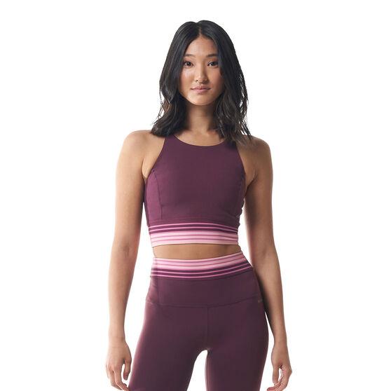 Ell & Voo Womens Maya Long Line Mesh Sports Bra, Purple, rebel_hi-res