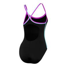 Speedo Womens Sierra One Piece Swimsuit Black / Multi 8, Black / Multi, rebel_hi-res