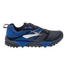 Brooks Cascadia 12 Mens Trail Trail Running Shoes Grey / Blue US 8, Grey / Blue, rebel_hi-res