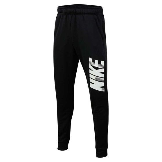 Nike Dri-FIT Boys Tapered Graphic Training Pants, Black / White, rebel_hi-res
