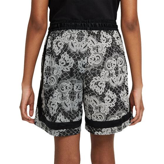 Nike Womens Fly Crossover Printed Basketball Shorts, Black, rebel_hi-res