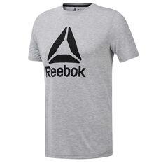 Reebok Mens Workout Ready Supremium Tee Grey S, Grey, rebel_hi-res