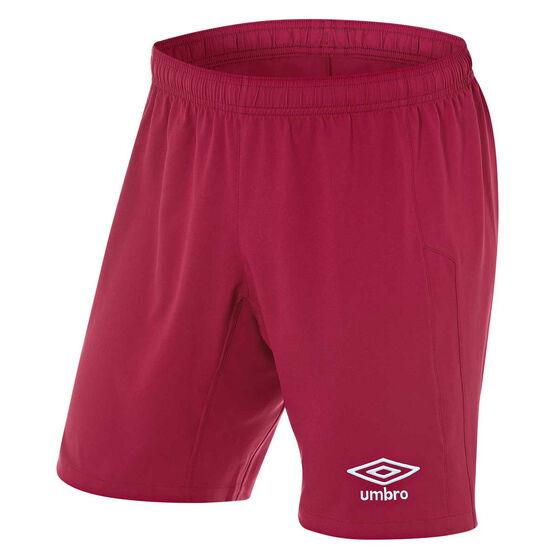Umbro Mens League Knit Shorts, Claret, rebel_hi-res