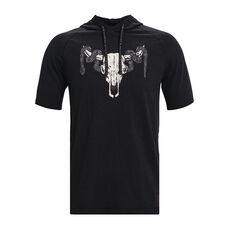 Under Armour Mens Project Rock Short Sleeve Hoodie Black XS, Black, rebel_hi-res