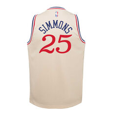 Nike Philadelphia 76ers Ben Simmons 2019/20 Youth City Edition Jersey Beige S, Beige, rebel_hi-res