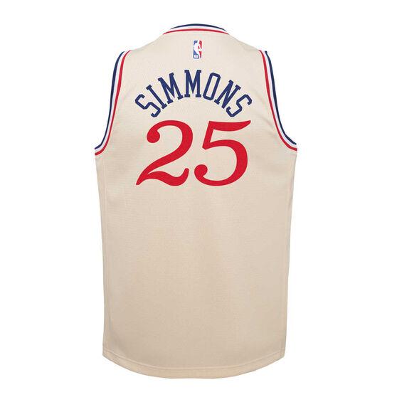 Nike Philadelphia 76ers Ben Simmons 2019/20 Youth City Edition Jersey Beige S, Beige, rebel_hi-res