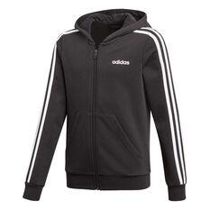 adidas Girls 3 Stripes Full Zip Hoodie Black / White 6, Black / White, rebel_hi-res