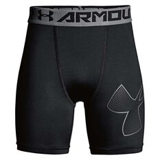 Under Armour Boys HeatGear Armour Mid Shorts Black / Grey XS, Black / Grey, rebel_hi-res