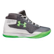 Under Armour Jet 2017 Boys Basketball Shoes Grey / Green US 4, Grey / Green, rebel_hi-res