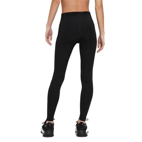 Nike One Womens Mid-Rise Full Length Tights Plus, Black, rebel_hi-res