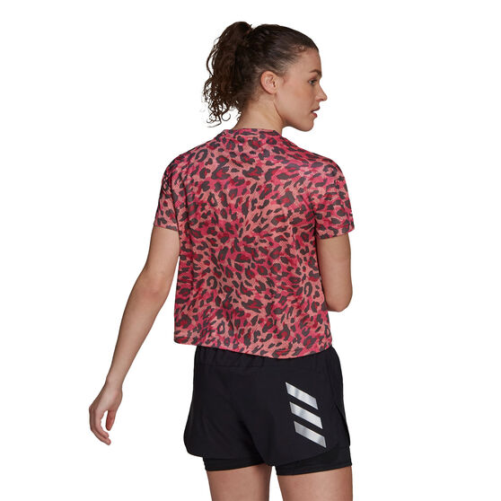 adidas Womens Primeblue Graphic Tee, Red, rebel_hi-res