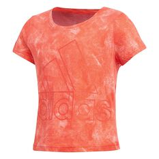 adidas Girls Moon Washed Tee Coral 8, Coral, rebel_hi-res