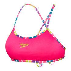 Speedo Womens Fiesta Tie-Back Swim Top, Pink, rebel_hi-res
