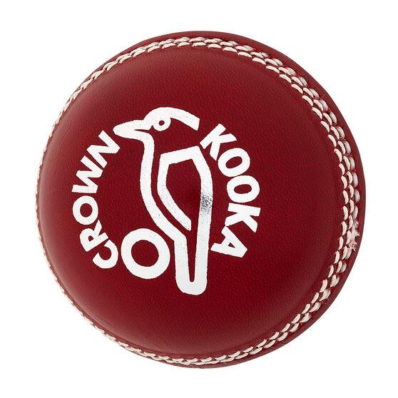 Kookaburra Crown Senior Cricket Ball Red 142g, Red, rebel_hi-res
