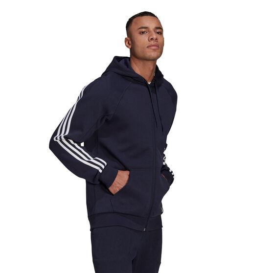 adidas Mens Future Icons Full Zip Hoodie, Navy, rebel_hi-res
