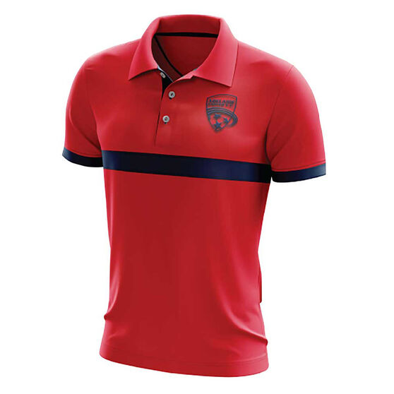 Adelaide United Mens Performace Polo, Red, rebel_hi-res