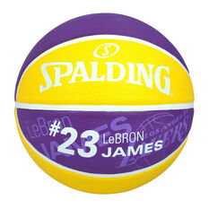 Spalding NBA LeBron James Basketball Purple / Yellow 3, Purple / Yellow, rebel_hi-res