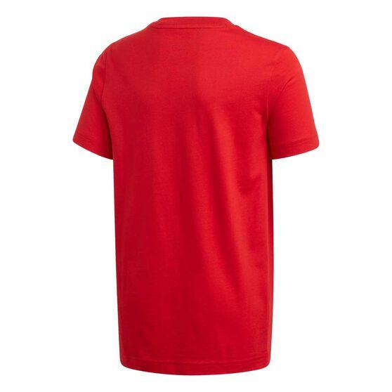 adidas Boys Essential 3 Stripe Tee Red / White 8, Red / White, rebel_hi-res