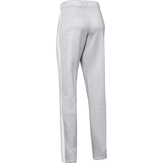 Under Armour Girls Armour Fleece Pants, Grey / White, rebel_hi-res