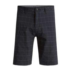 Quiksilver Mens Union Plaid Amphibian 21in Boardshorts Black 30 Adult, Black, rebel_hi-res