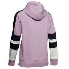 Under Armour Womens Rival Fleece LC Logo Hoodie Pink XS, Pink, rebel_hi-res