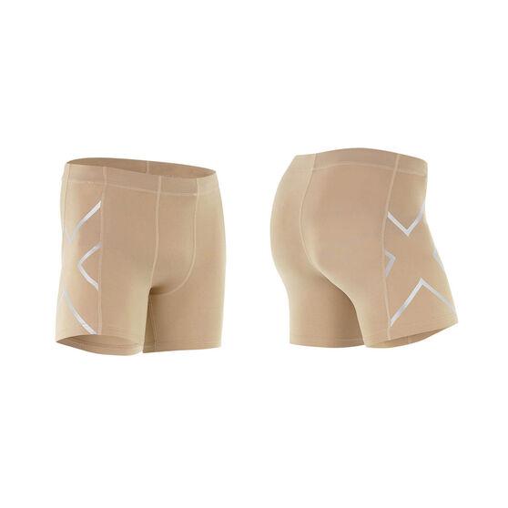2XU Mens Compression 1 / 2 Shorts, Beige, rebel_hi-res