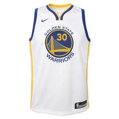Nike Golden State Warriors Steph Curry Association 2019 Kids Swingman Jersey Blue / Gold S, Blue / Gold, rebel_hi-res