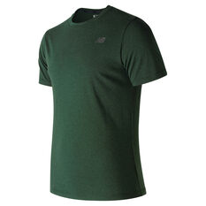 New Balance Mens Heather Tech Running Tee Green S, Green, rebel_hi-res
