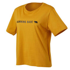 Running Bare Womens I Heard A Rumour Cropped Tee Yellow 8, Yellow, rebel_hi-res