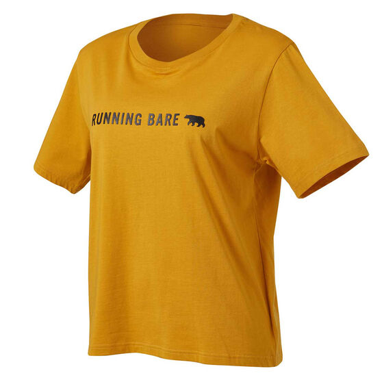 Running Bare Womens I Heard A Rumour Cropped Tee, Yellow, rebel_hi-res