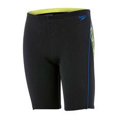 Speedo Boys Monogram II Jammer Swim Shorts Black / Yellow 8, Black / Yellow, rebel_hi-res