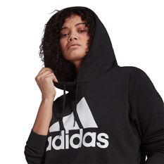adidas Womens Essentials Logo Fleece Hoodie Plus, Black, rebel_hi-res
