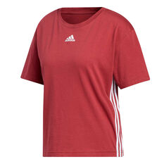 adidas Womens Must Haves 3-Stripes Tee Red XS, Red, rebel_hi-res