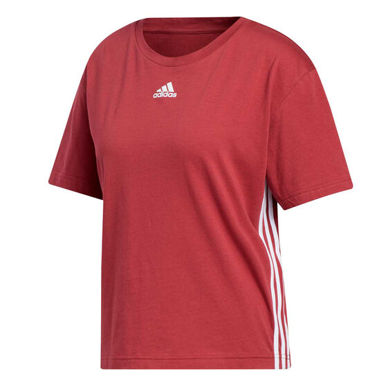 adidas Womens Must Haves 3-Stripes Tee, Red, rebel_hi-res