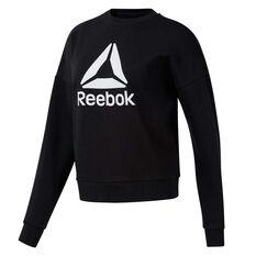 Reebok Womens Workout Ready Big Logo Sweater Black XS, Black, rebel_hi-res