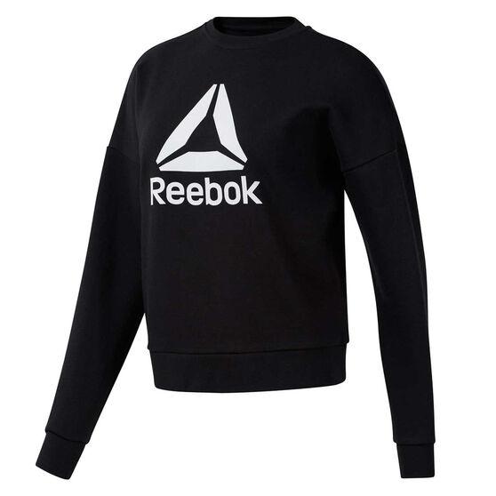 Reebok Womens Workout Ready Big Logo Sweater, Black, rebel_hi-res