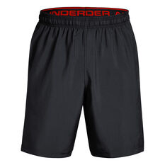 Under Armour Mens UA Graphic Woven Training Shorts Black / Red XS, Black / Red, rebel_hi-res