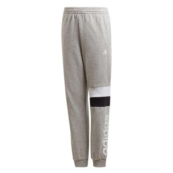 adidas Boys Linear Colourblock Pants, Grey/White, rebel_hi-res