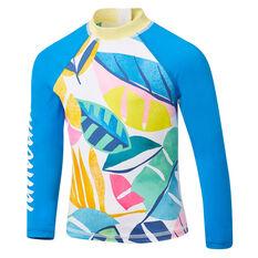 Tahwalhi Girls Rainbow Long Sleeve Rash Vest Blue 4, Blue, rebel_hi-res