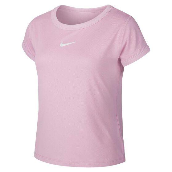 Nike Court Girls Dri-FIT Tennis Tee, Pink / White, rebel_hi-res