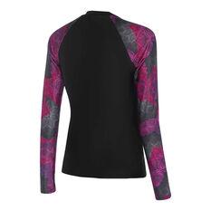 Speedo Womens Leisure Long Sleeve Rash Vest Black/Pink 10, Black/Pink, rebel_hi-res